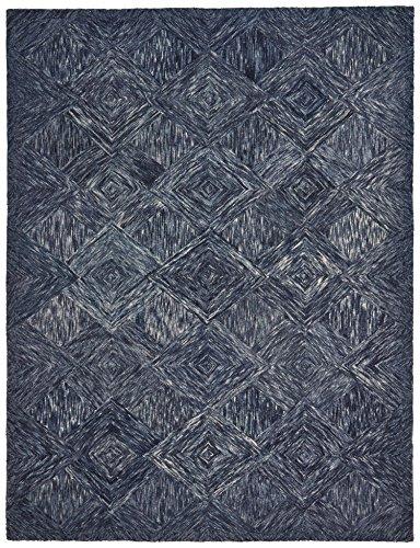 Rivet Motion Patterned Wool Area Rug, 8' x 10'6, Denim Blue by Rivet (Image #6)