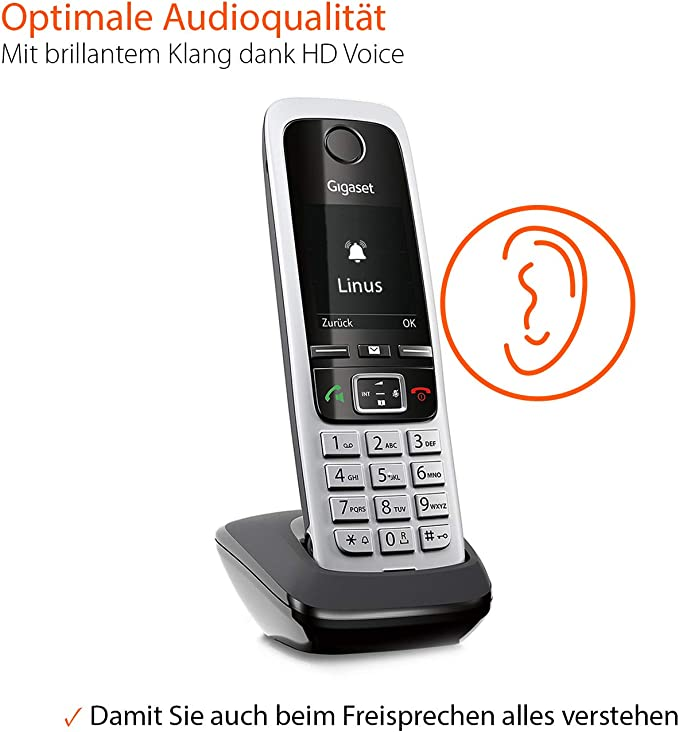 Gigaset C430HX - teléfonos inalámbricos (Negro, Plata, LCD, 128 x 160 Pixeles, Níquel-Metal hidruro (NiMH), AAA): Amazon.es: Electrónica