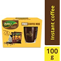 Bru Gold Instant Coffee Pouch, 100 g with Free Coffee Mug