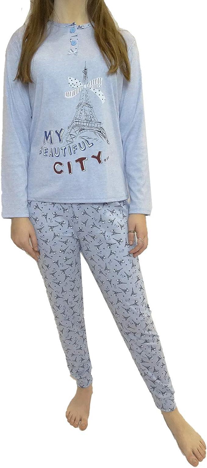 Mini kitten - Pijama de Mujer de ALGODÓN DE Color Camiseta Manga Larga y Pantalon Largo con Estampado y puño/Ropa para Dormir Comodo: Amazon.es: Ropa y accesorios