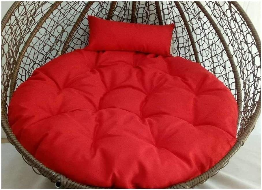 BVCK Thick Swing Seat Pad Hanging Egg Hammock Chair Cushions, Garden Rattan Mat with Pillow Without Stand 915 (Color : Dark Red, Size : 43x43inch)