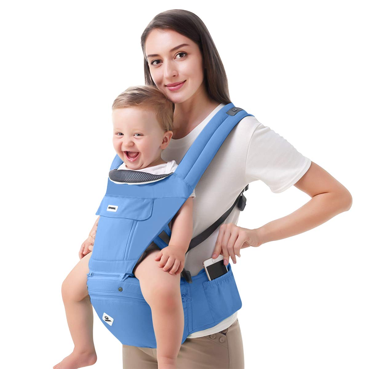 Light Green 100/% Cotton SONARIN Multifunctional Hipseat Baby Carrier,Breathable Straps Large Capacity Storage,11 Carrying Positions,Adapted to Your Childs Growing,Ideal Gift Ergonomic