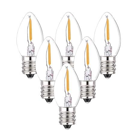 C7 Led Bulb >> 6 Pack C7 Led Bulbs 0 5 Watts Led Filament Night Light Bulb Edison Style Led Sign Light E12 Candelabra Base Lamp Clear Glass 4 Watts Equal Candel