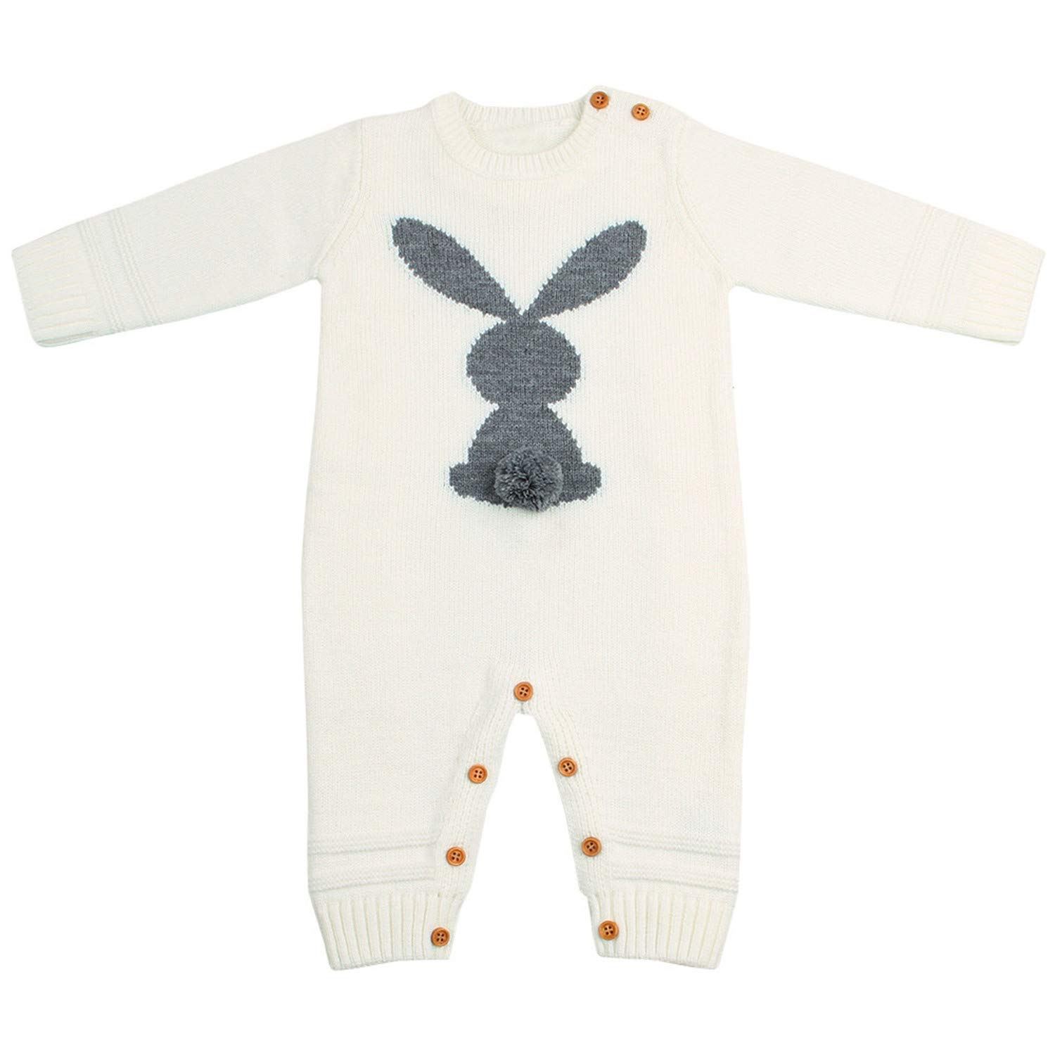 Cute Knitted Rabbit Tail Patchwork Romper Newborn Infant Baby Boy Girl Outfits
