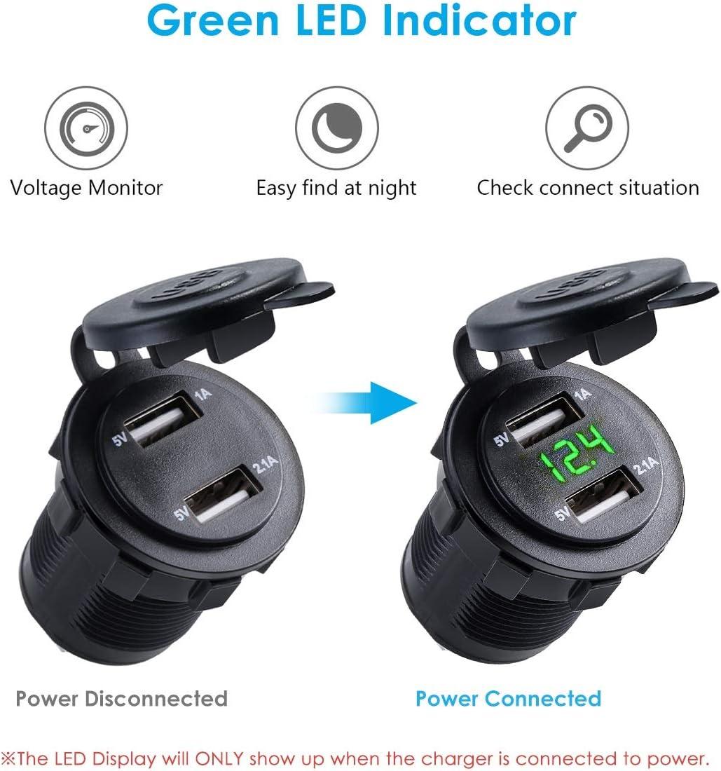 24 Dual USB Port Zigarettenanz/ünder Stecker LED Voltmeter Wasserdicht Color : Blau Nosii 12V