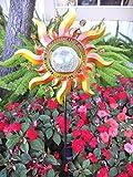 Hongville Solar Powered Garden Yard Stake Color Change Light (Metal Sun-Ray w/ Crackle Glass Ball)