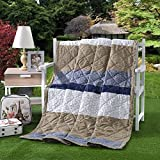 KFZ Summer Quilt Comforter Bedspread for Bed Breathable BDD 4 Sizes with Simple Style Summer Moka Time Stripes Designs for Children Adult One Piece (Simple Style,Multi, Queen,79''x91'')