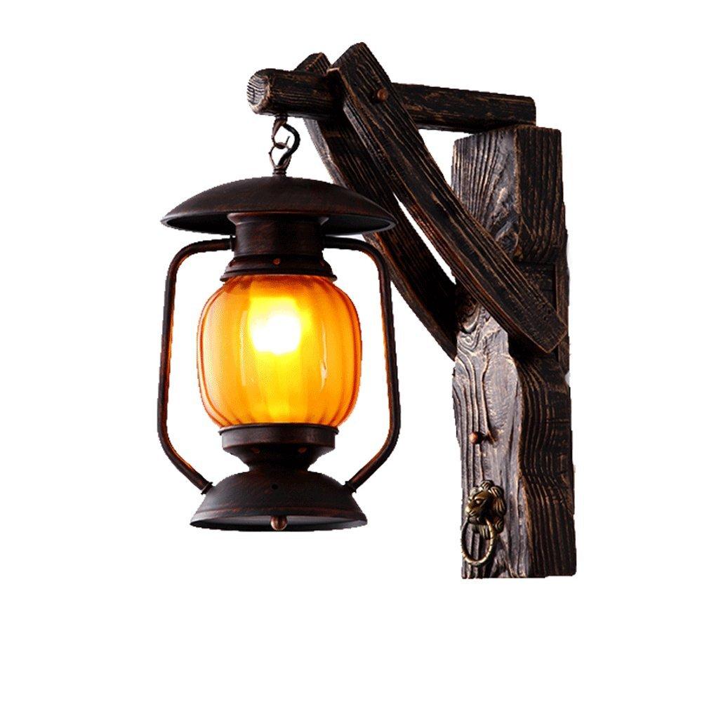Antike Holz Laterne E27 Industrielle Retro Wandleuchte Wandlampen Innendekoration Gang Restaurant Traditionelle Edison Wandleuchte