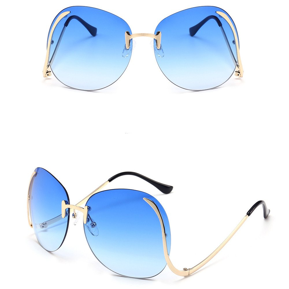 Amazon.com: OUBAO Gafas de sol Retro Big Eyeglasses Beach ...