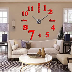 CreationStore Mirror Surface Decorative Clock 3D DIY Wall Clock Living Room Bedroom Office Hotel Wall Decoration (Red)