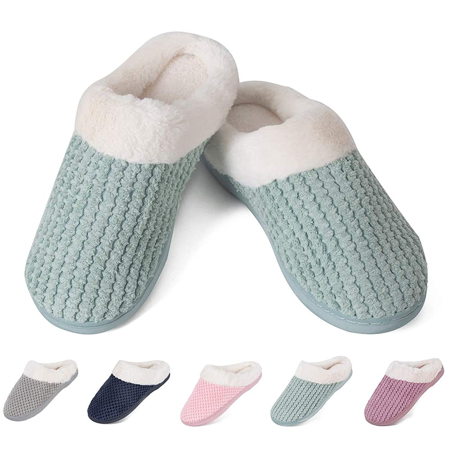 e12f5c30303347 Cozy Fleece Knitted Upper  These House Slippers Upper Has the Breathable  Knit Design and You Will Find that is so Cute. Slide Your Feet into the  Comfortable ...