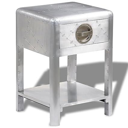 Ordinaire VidaXL Aluminum Aviator Side Coffee Table Nightstand Telephone Stand 1  Drawer