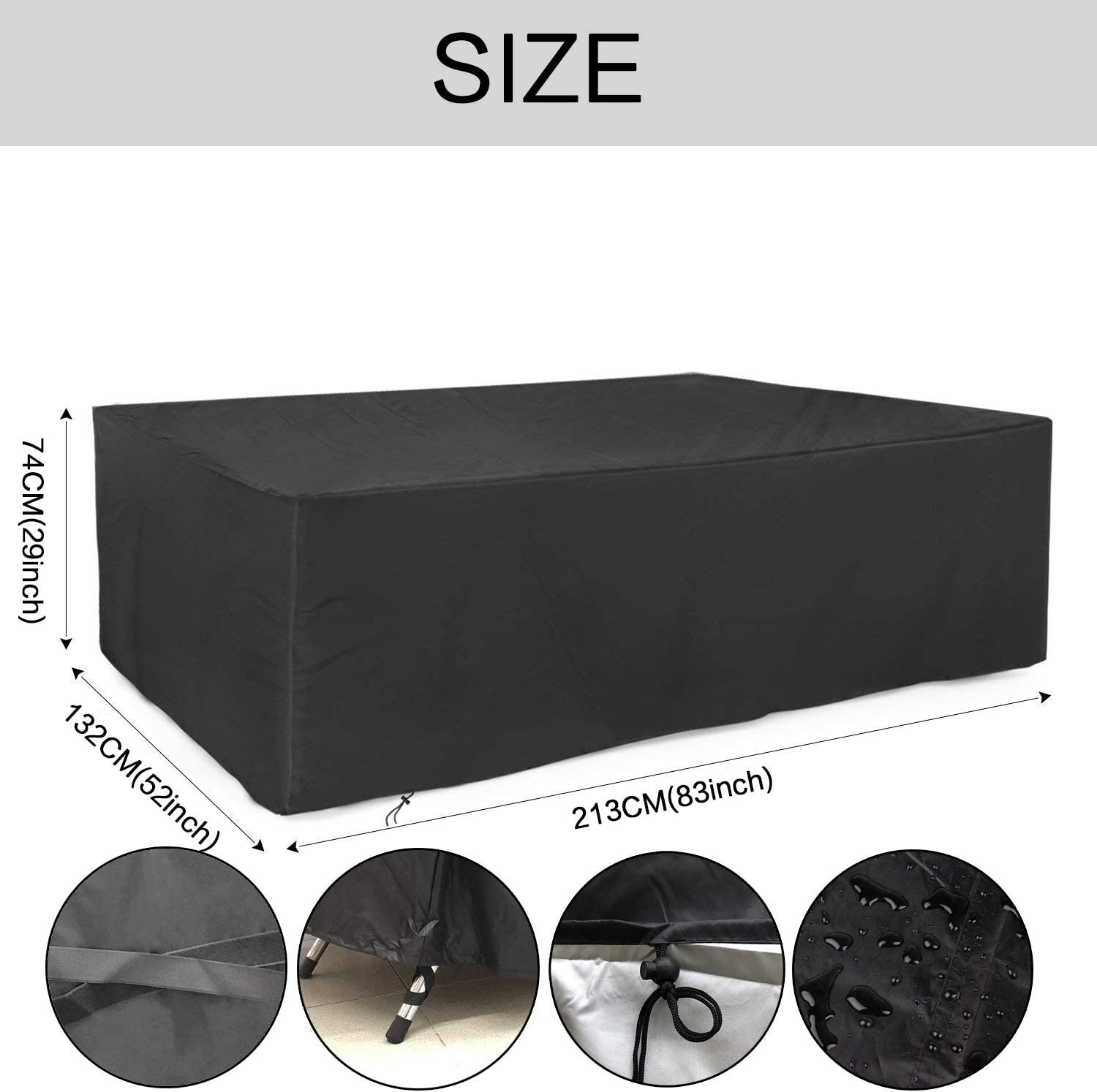SARCCH Patio Furniture Cover, Outdoor Sectional Furniture Set Covers, Table Chair Sofa Covers, Durable and Convenient, Waterproof Snow Dust Wind Proof,Anti-UV Fits to 6-8 Seat (83''x52''x29'') : Garden & Outdoor