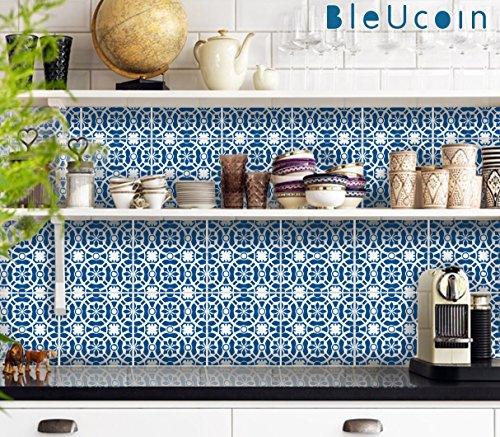 Blue Jaipur Tile Stickers for Kitchen Bathroom Backsplash, Removable Stair Riser, Door Peel and Stick Home Decor- Pack of 44 (8'' x 8'' (Pack of 44)) by Bleucoin