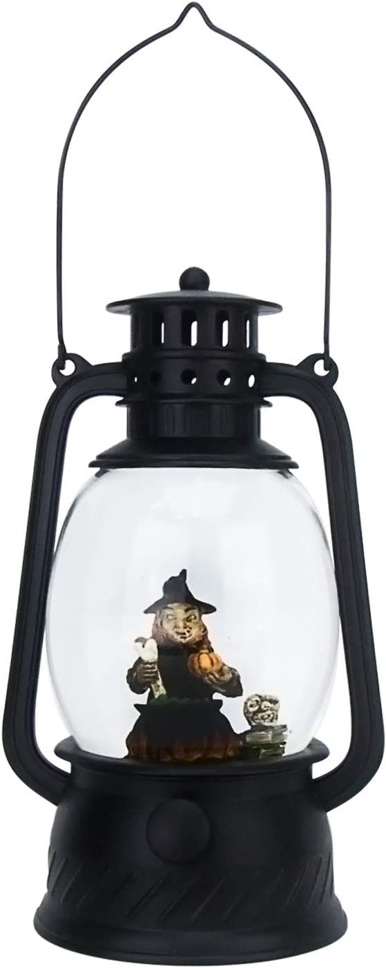Evelyne GMT-10334-C The Witch Stirring Cauldron Halloween Snow Globe - LED Lighted Halloween Lantern - Battery Operated Swirling Water Glitter Globe for Halloween Home Decor