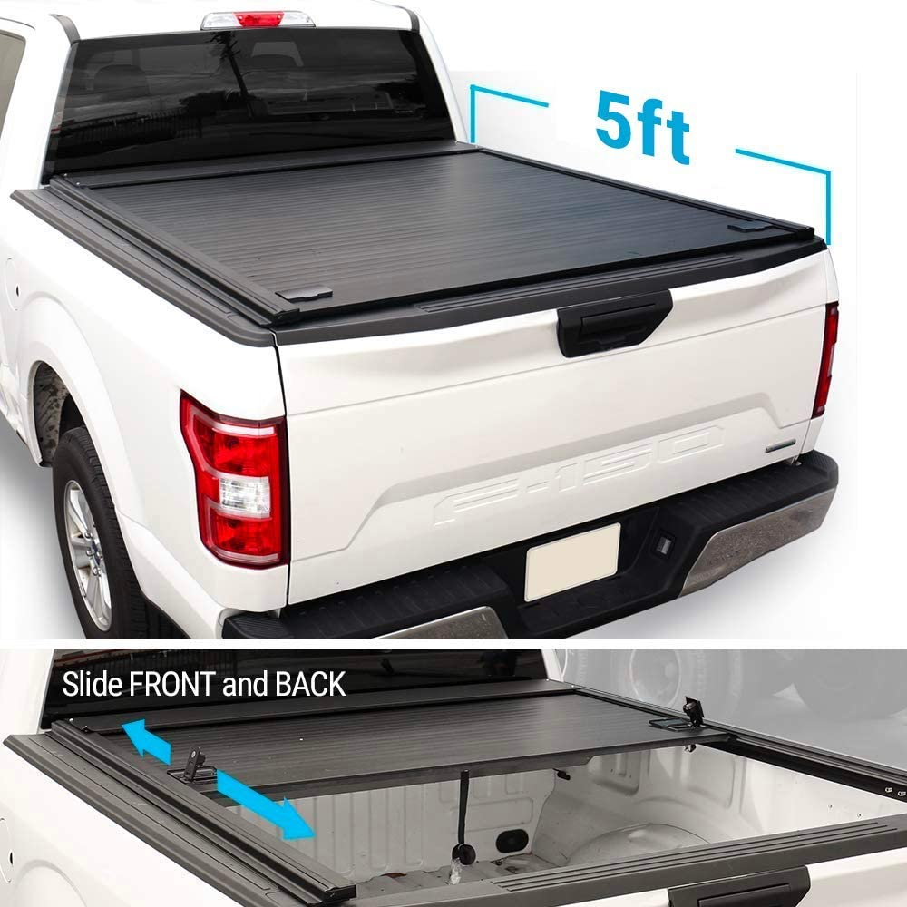 Syneticusa Aluminum Retractable Low Profile Tonneau Cover for 2005-2020 Tacoma 5ft Short Truck Bed