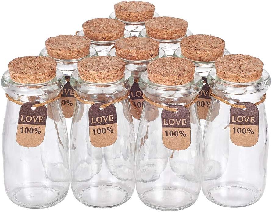 BENECREAT 10 Pack 100ml Botella de Vidrio con Corcho Equipada de Cuerda de Cáñamo y Etiqueta de Cartón Botella Portátil y Práctica de Cristal para Almacenamiento de Dulce Cuentas Chocolate