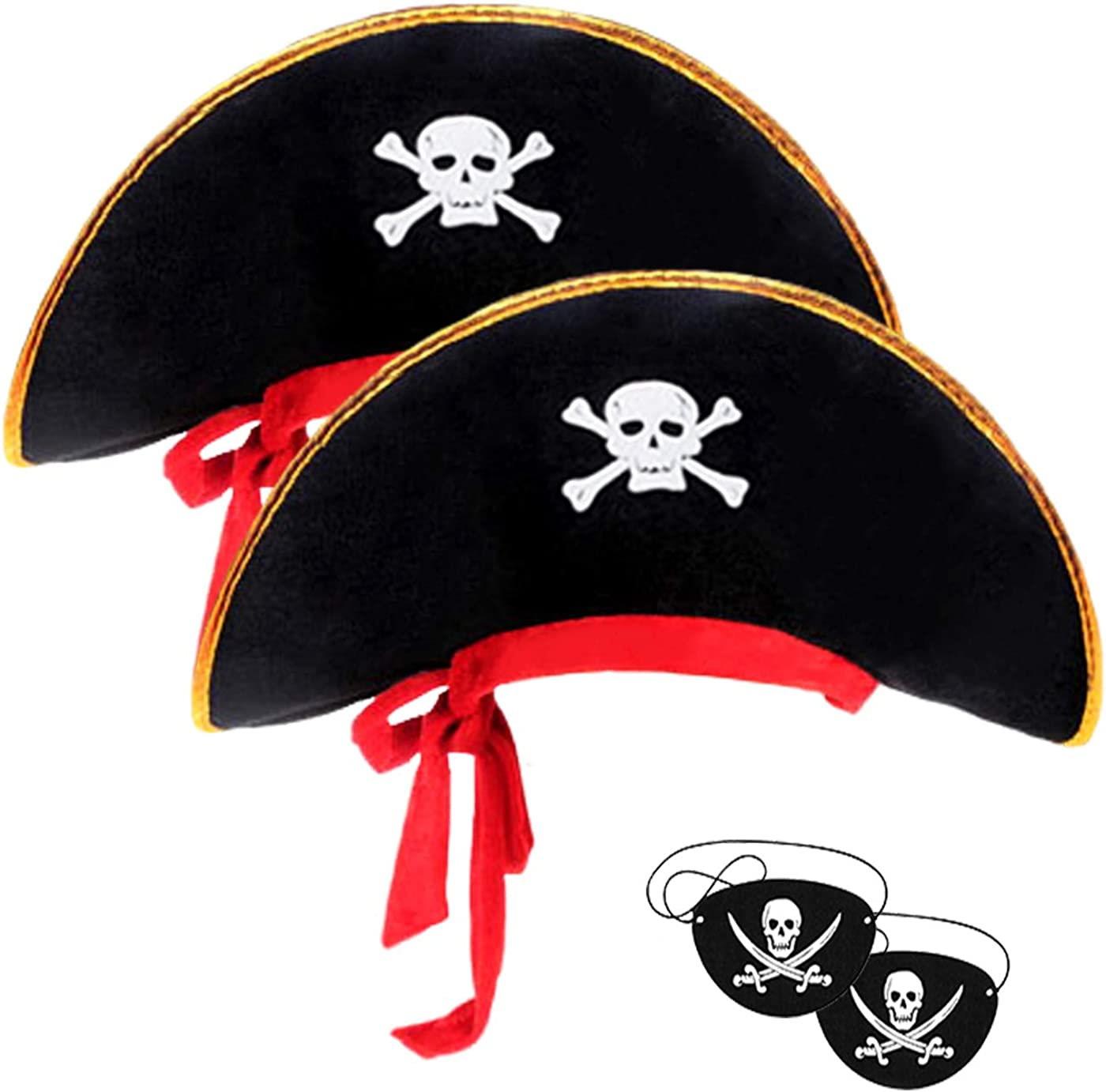 2pieces Skull Print Pirate Hat Caribbean Pirate Captain Hat Pirate Costume Accessories Pirate Decorations Cosplay Dress-up Theme Party Pirate Decor