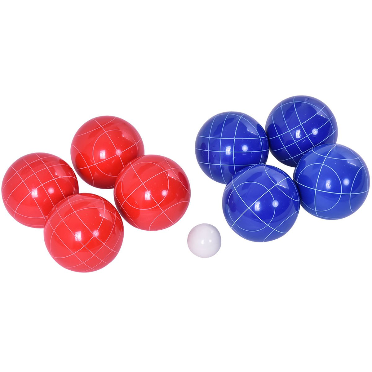 Globe House Products GHP 8-Pcs Full-Size 90mm Red & Blue Bocce Ball Set with White Pallino Object Ball