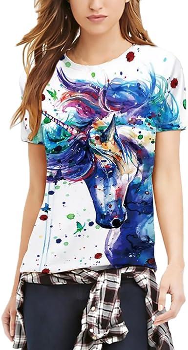 Camisetas Mujer Verano Unicornio Impresión Manga Corta Cuello ...