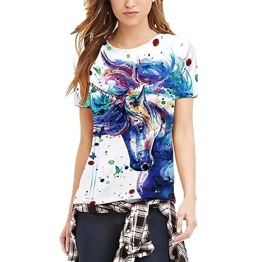 Camisetas Mujer Verano Unicornio San Valentin Impresión Tops Manga Corta Cuello Redondo Slim Fit T-