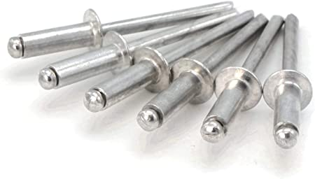1//8 Diameter x 1//2 Grip Snug Fastener 100 Qty Aluminum Blind Rivets #4-8 SNG174