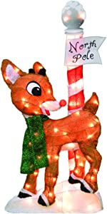 ProductWorks 32-Inch Pre-Lit Rudolph The Red-Nosed Reindeer Christmas Yard Art, 1, 70 Lights