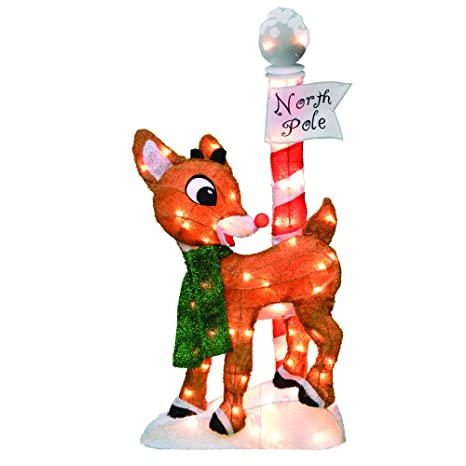 amazoncom productworks 32 inch pre lit rudolph the red nosed reindeer christmas yard decoration 70 lights garden outdoor
