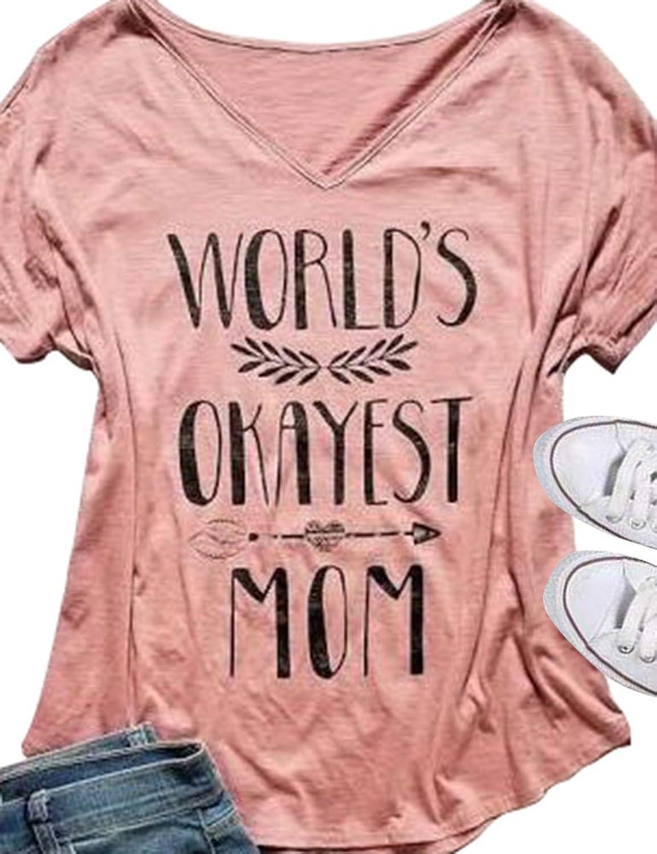 28d846e041226a Nlife Frauen Brief Gedruckt T-Shirt der Welt Okayest Mom Sommermode Bluse  für Mutter free
