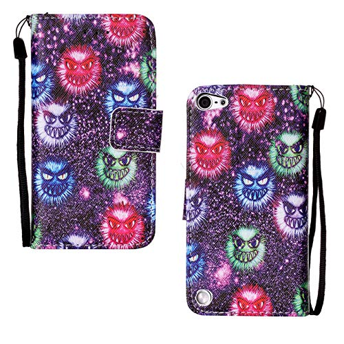 iPod Touch 5 Case, iPod Touch 6 Case, Casii Premium PU Leather Kickstand with Magnetic Card Holder Pocket Money Hand Strap Flip Cover for Apple iPod Touch 5th/6th Generation, Little Monster (Cover Ipod 5 Monster High)