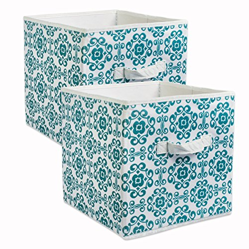 DII CAMZ38458 Foldable Fabric Storage Containers (Set of 2), Large, Teal