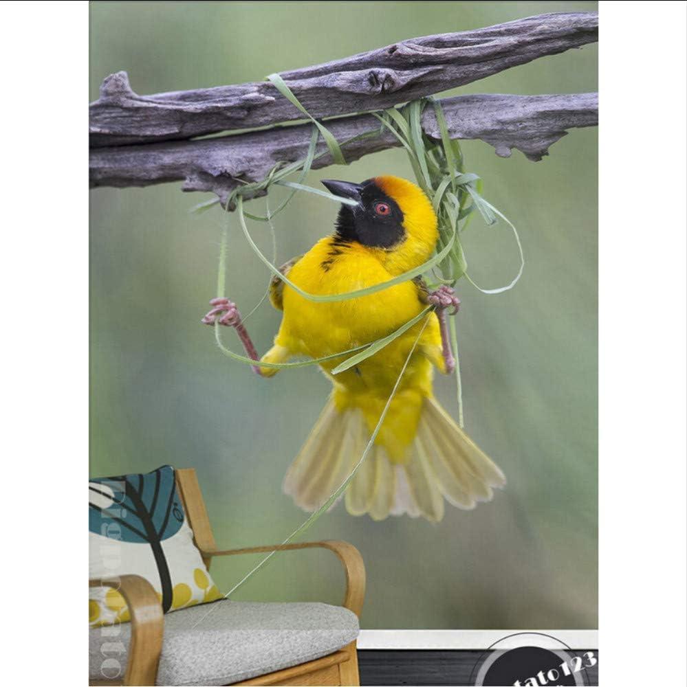 Wiwhy Mural De Naturaleza 3D Personalizado, Hermoso Nido De Pájaro Amarillo Canario, Rama, Papel Tapiz Del Dormitorio De La Pared De La Sala De Estar.-120X100Cm