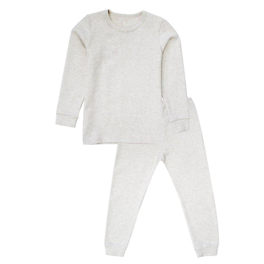 Enfants Chéris Toddler Boys Girls Jammies Stripes Organic Cotton Pajamas, (Beige, 6T)