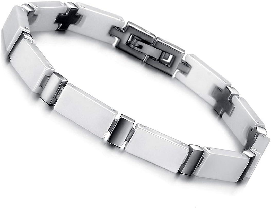 Flongo Bracelet Acier Inoxydable C/éramique Lien Poignet Croix Poli Fantaisie Bijoux Cadeau Couleur Noir Blanc pour Femme Homme