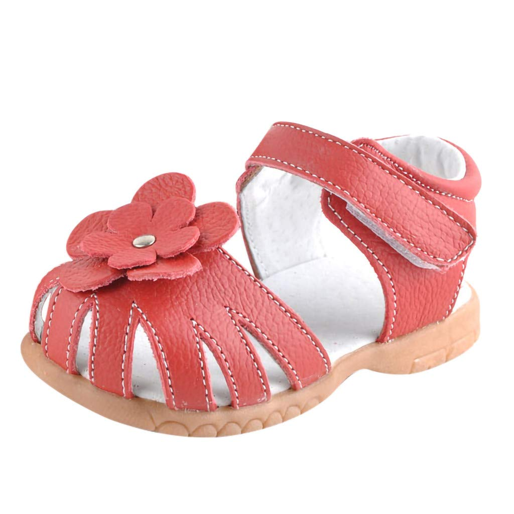 Tantisy ♣↭♣ Girl Leather Princess Flat Shoes/Closed Toe Casual Outdoor Shoes/Summer Sandals (Toddler/Little Kid/Big Kid) Red