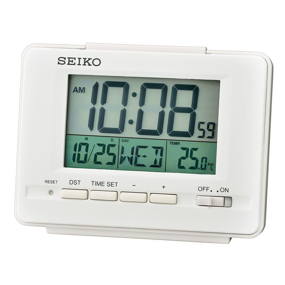 Seiko sveglia LCD con calendario e termometro–bianco QHL078W