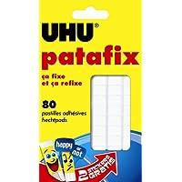 UHU Etui de 80 Pastilles adhésives repositionnable décollable Patafix Blanc