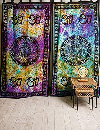 Om Symbol Mandala Tie Dye Hippie Door Window Curtain