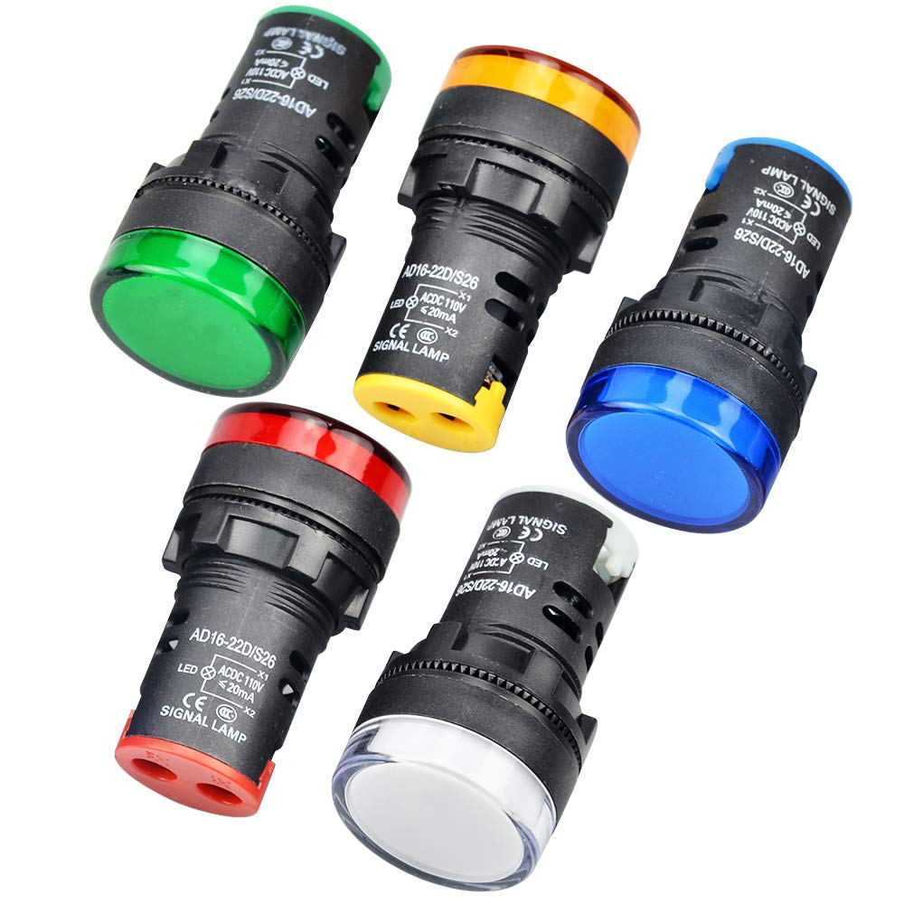 Gasher 12V//24V//110V 20mA Energy Saving Indicator Light Red 10 Pcs