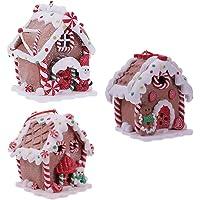 NUOBESTY 3 Stks Kerst Led Verlichte Peperkoek Snoep Huis Opknoping Ornament Kerstboom Mini Huis Decoratie
