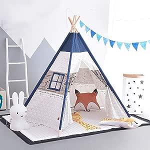 Kibten Dibujos animados Azul Lienzo de algodón Tienda de campaña india for niños Niños Casa de juegos Tienda de campaña Ventanas Niños pequeños Juego de juguetes Juego Niños de la casa Jardín