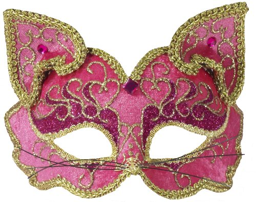 Forum Fancy Cat Style Venetian 1/2 Mask, Pink/Gold, One Size -