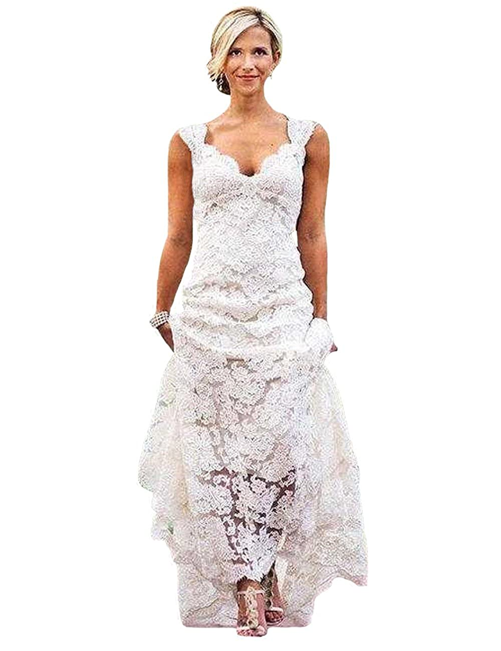 O.D.W Spitze Lange Frauen Brautkleider Rustikale Vintage ...