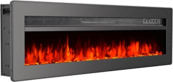 """GMHome 40"""" Wall Recessed Electric Fireplace 9 Changeable Color, w/Remote, 1500 / 750W, Metal Panel"""