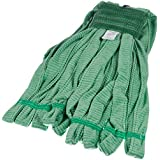 AmazonBasics Microfiber Tube Mop Head, 5-inch Headband, Medium, Green - 6-Pack