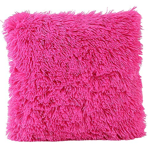 JOTOM Deluxe Cushion Cover Soft Plush Home Decorative Throw Pillow Case Cover for Sofa Car Bedroom,17 x 17 inches (Hot Pink)