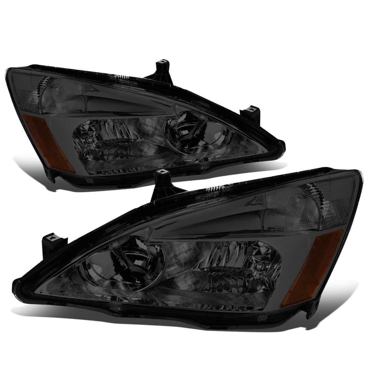 Replacement for 03-07 Honda Accord Pair of Smoke Lens Amber Corner Replacement Headlights/Lamps