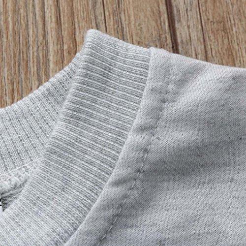 Omiky® Kinder-Baby-Mädchen-Pullover-Sweatshirt Karikatur-Oberseiten + Hosen-Ausstattungs-Kleidung-Satz Grau