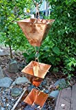 Extra Large Square Cups Copper Rain Chain with Installation Kit