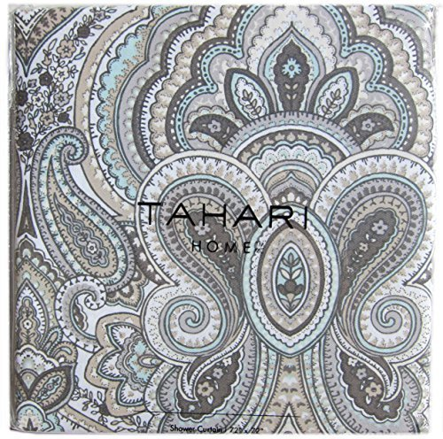 Tahari Luxury Cotton Blend Shower Curtain Gray Turquoise Taupe Grey Taupe Large Medallions Paisley Scroll Design Mackenzie